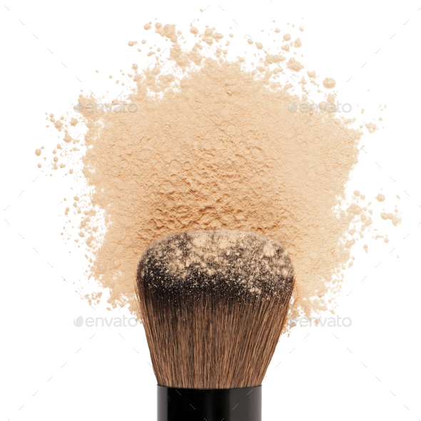 Make up powder with brush - Stock Photo - Images