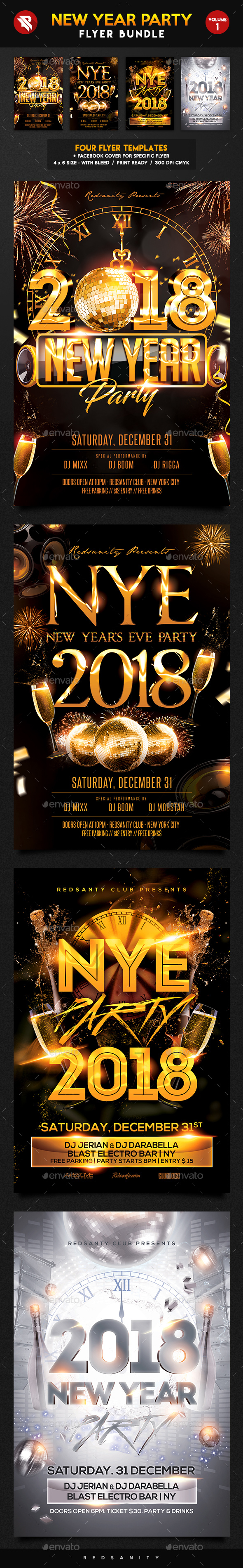 New Year Party Flyer Bundle Vol.1 - Clubs & Parties Events