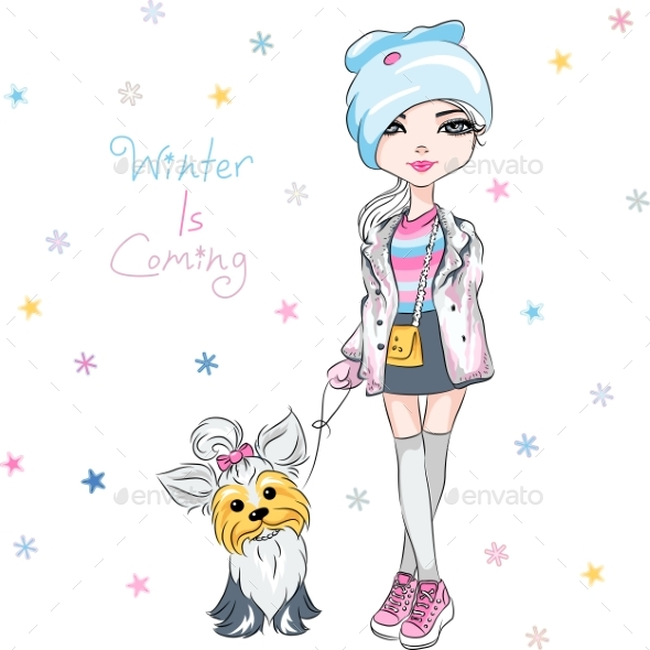GraphicRiver Vector Fashion Girl with Dog 21120991