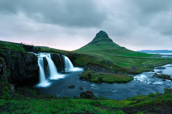 Colorful sunrise on Kirkjufellsfoss waterfall - Stock Photo - Images