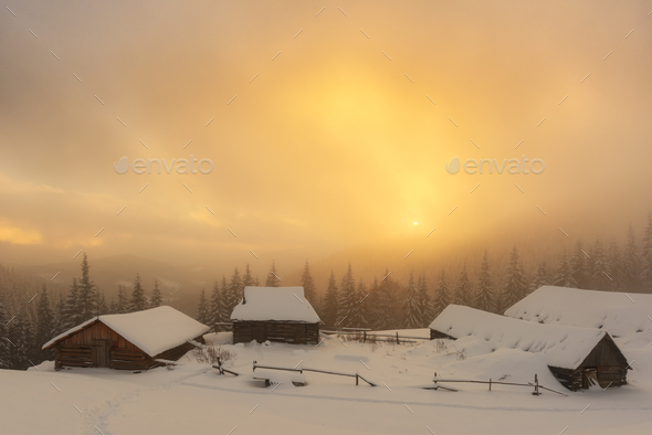 Fantastic landscape with snowy house - Stock Photo - Images