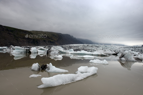 Icebergs in Fjallsarlon glacial lagoon - Stock Photo - Images