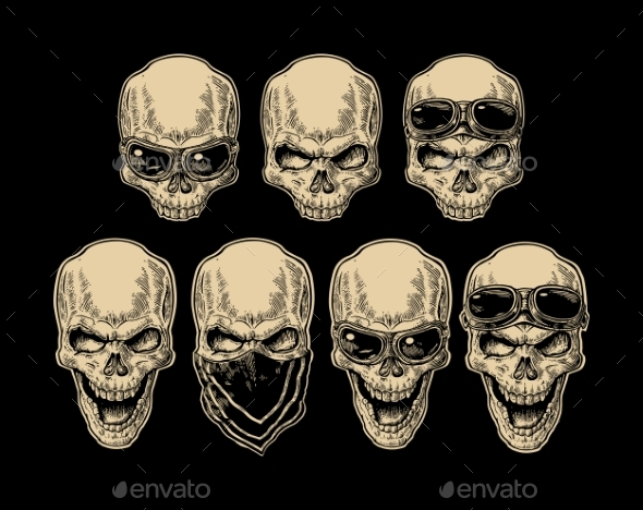 Skull Smiling with Bandanna and Glasses - Miscellaneous Vectors