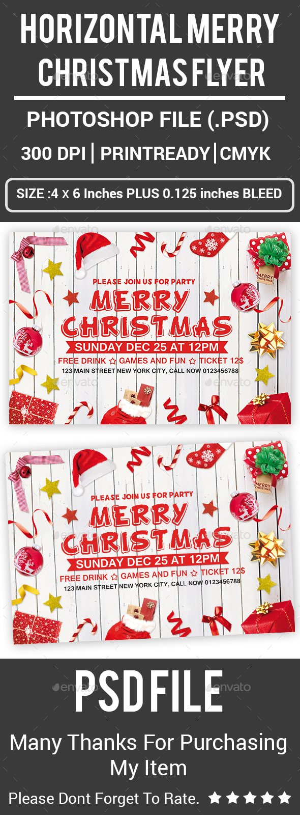 GraphicRiver Horizontal Merry Christmas Flyer 21121112
