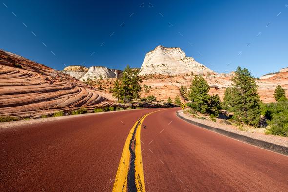 Empty scenic highway in Utah - Stock Photo - Images