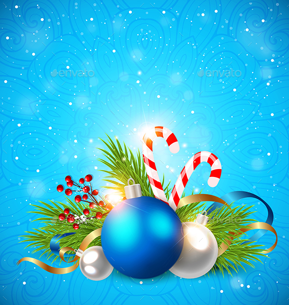 Decorations on a Blue Background - Christmas Seasons/Holidays
