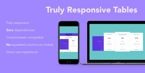 CodeCanyon Truly Responsive Comparison Tables 21108639