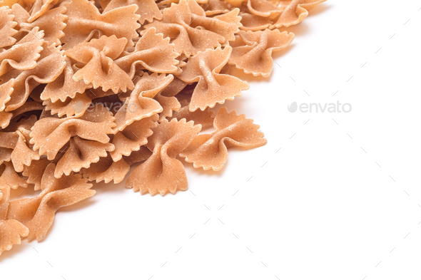 whole wheat farfalle pasta - Stock Photo - Images