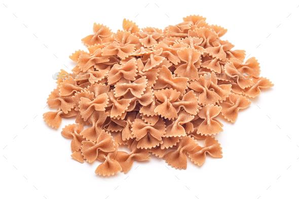 whole wheat farfalle pasta - Stock Photo - Images