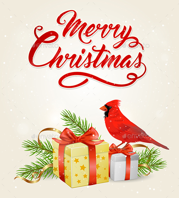 GraphicRiver Red Cardinal Bird and Gifts 21121222