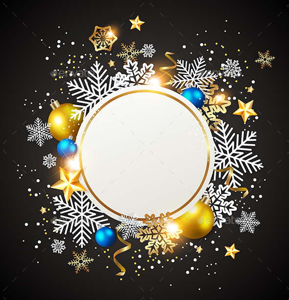 GraphicRiver White Snowflakes and Golden Decorations 21121244
