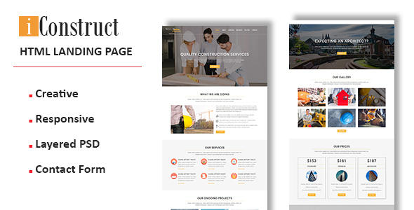 iConstruct - Multipurpose Responsive Landing Pages Free Download | Nulled