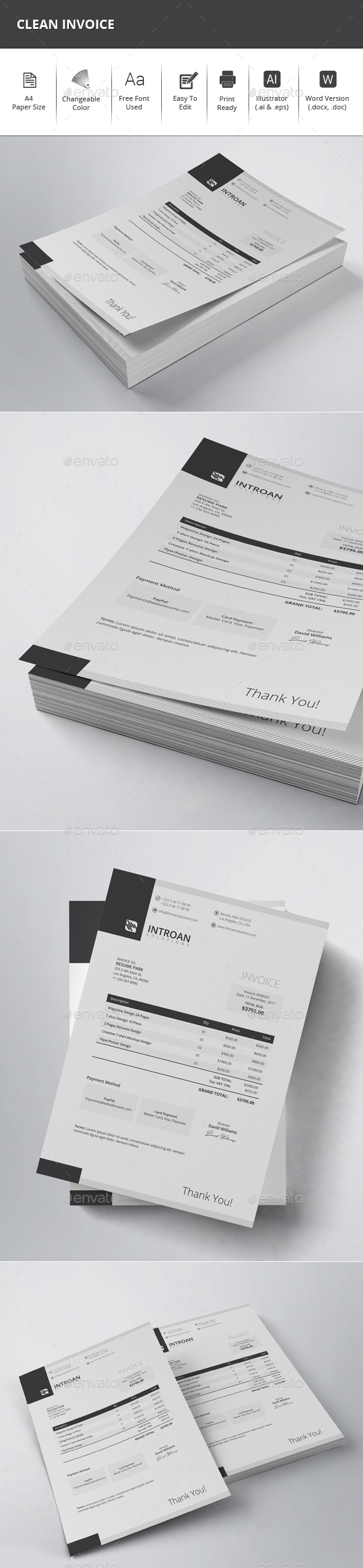 GraphicRiver Clean Invoice 21121303