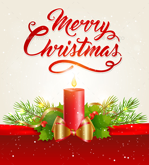 Christmas Background with Red Candle - Christmas Seasons/Holidays