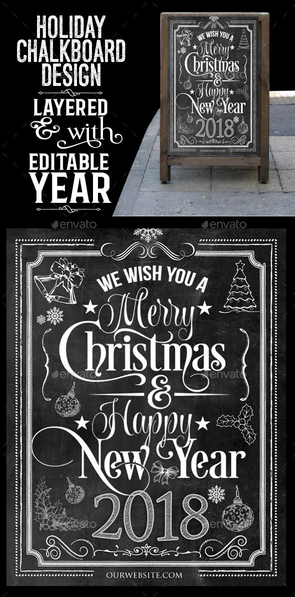 GraphicRiver Holiday Chalkboard Design 21121445