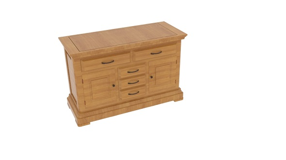 Canterbury Natural Solid Oak Large Sideboard - 3DOcean Item for Sale