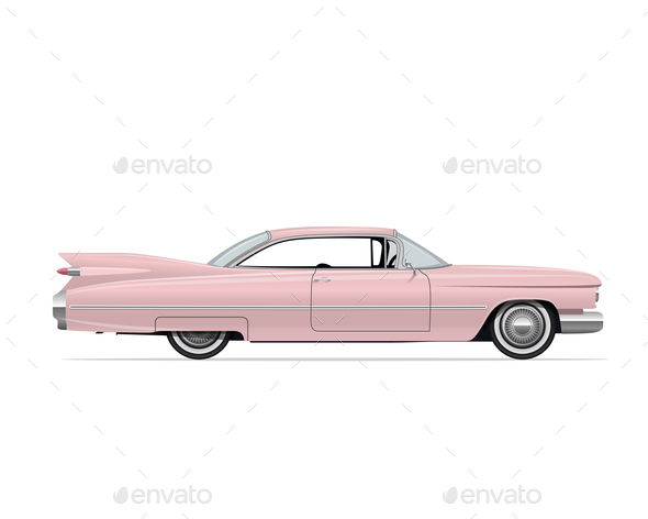 Classic American Vintage Pink Car - Retro Technology