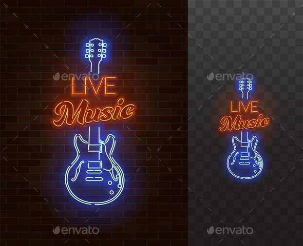 GraphicRiver Live Music Neon Sign 21121722