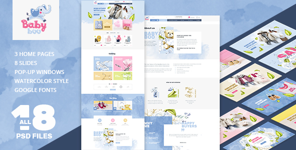 ThemeForest BabyBoo Clothes Shoes Toys Gifts Store §іhildren & Babies PSD template 21042125