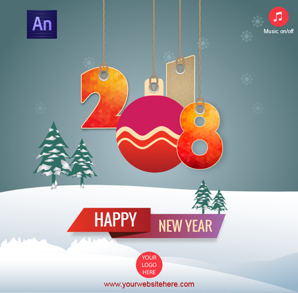 Happy New Year 2018 Greeting Card - CodeCanyon Item for Sale