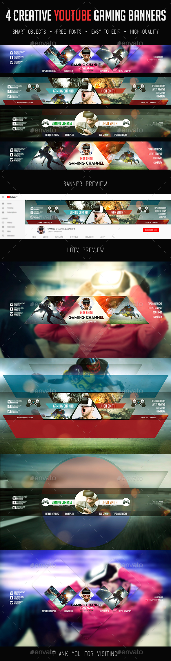 GraphicRiver 4 Modern Gamer YouTube Banners 21121914