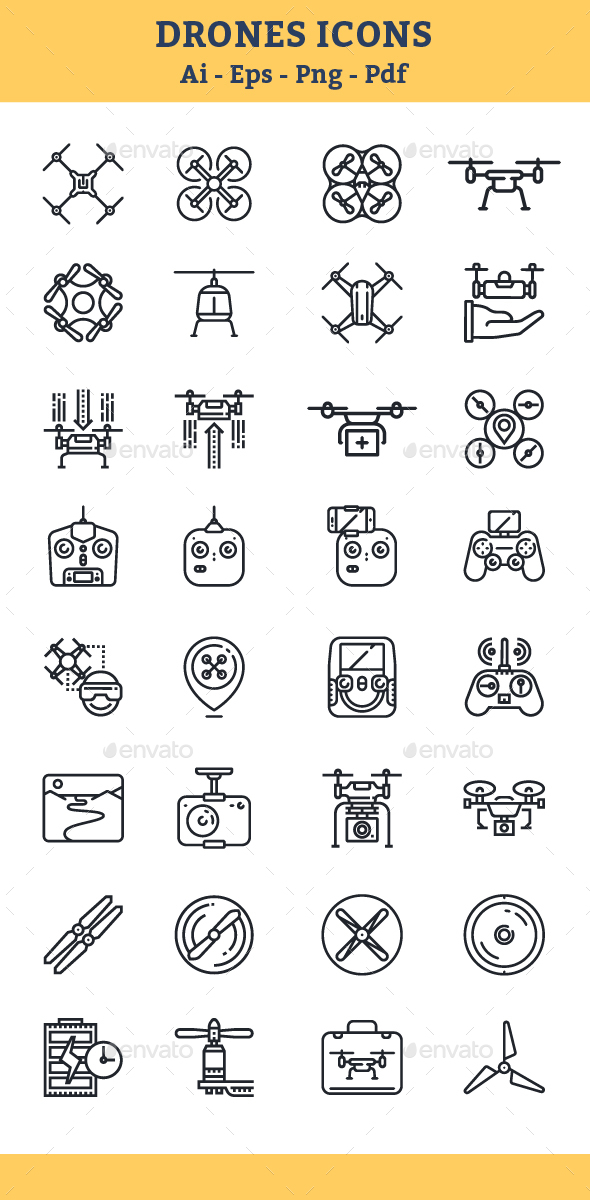 Quadrocopter, Multicopter, Drone Icons - Icons