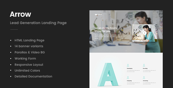 ThemeForest Arrow Lead Generation Landing Page 20843989