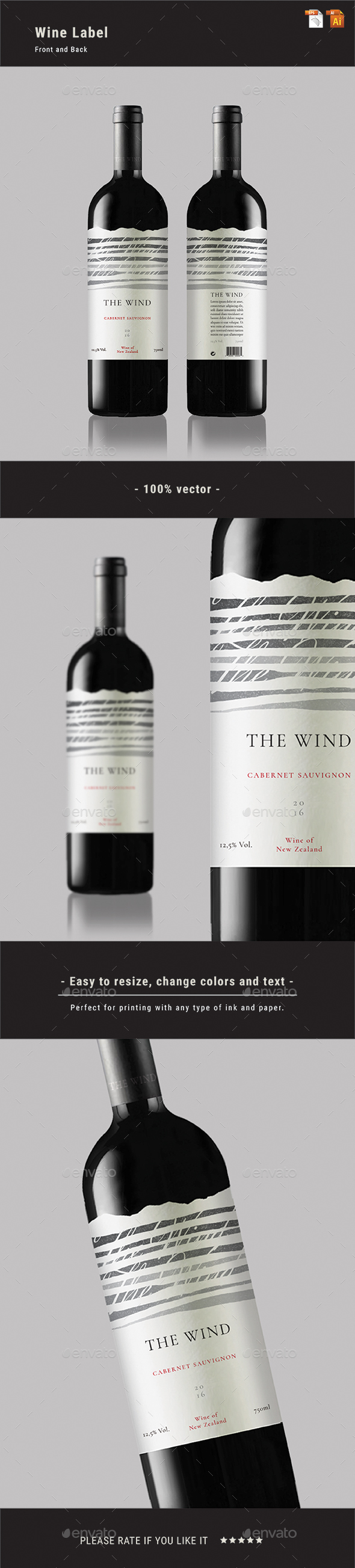 Wine Label - Packaging Print Templates