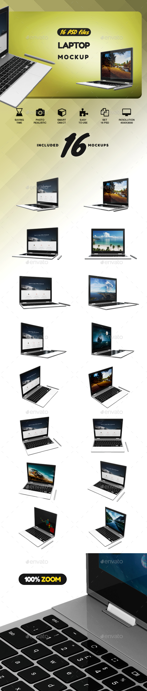 Laptop Pixelbook Mockup - Product Mock-Ups Graphics