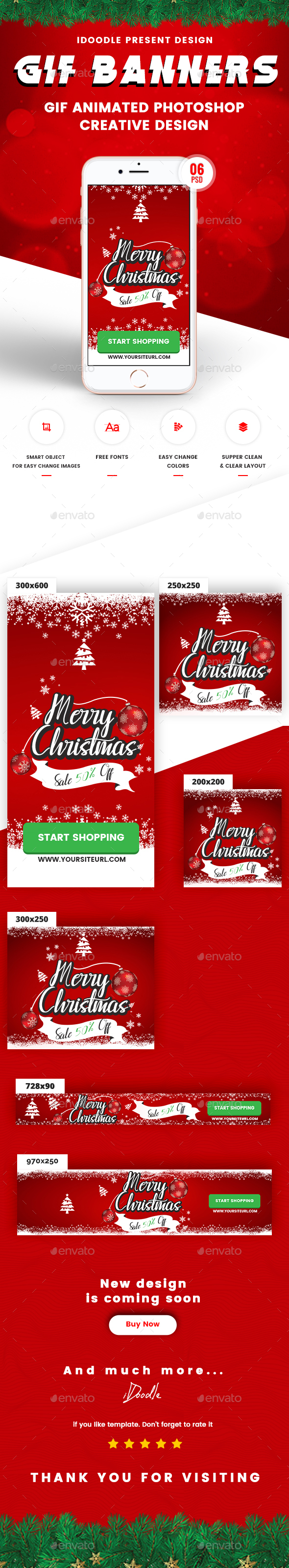GraphicRiver Animated GIF Merry Christmas Banners Ad 21122762