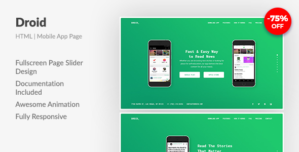 Image of Droid — Mobile App Fullscreen Landing Page HTML Template