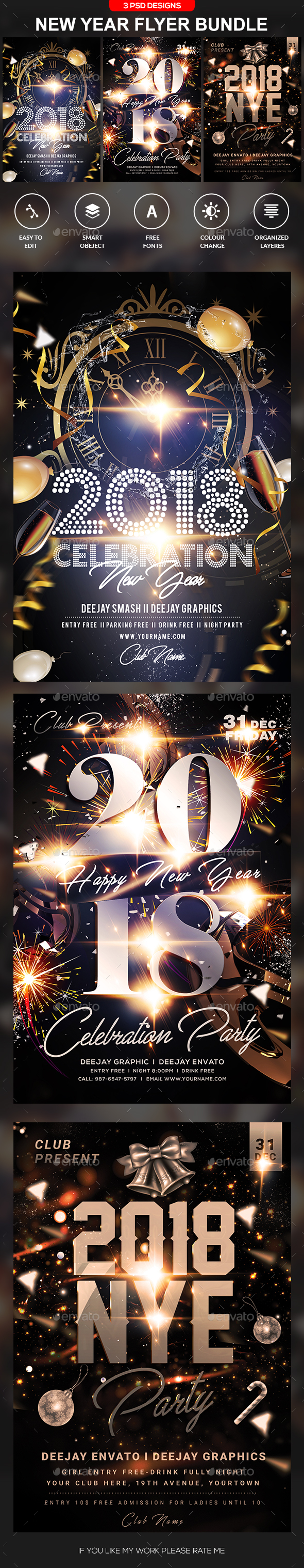 GraphicRiver New Year Flyer Bundle 21122832