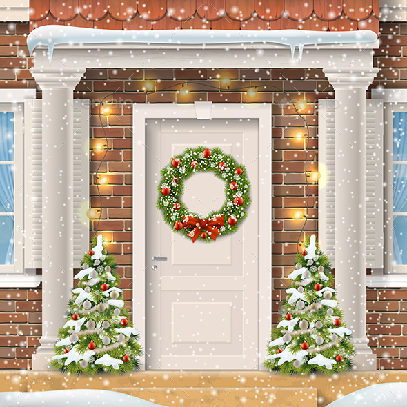 The Door Decorated With a Christmas Wreath - Christmas Seasons/Holidays