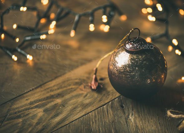 Christmas tree toy decoration ball on wooden background, copy space - Stock Photo - Images
