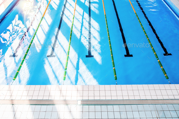 Lanes of an indoor public swimming pool. - Stock Photo - Images