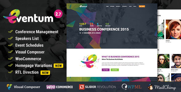 Eventum - Conference & Event WordPress Theme for Event & Conference - Events Entertainment