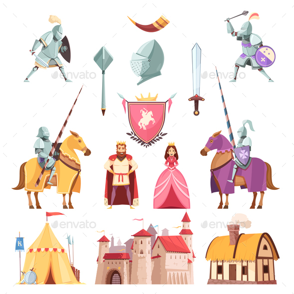 Medieval Royal Heraldry Cartoon Set - Miscellaneous Vectors