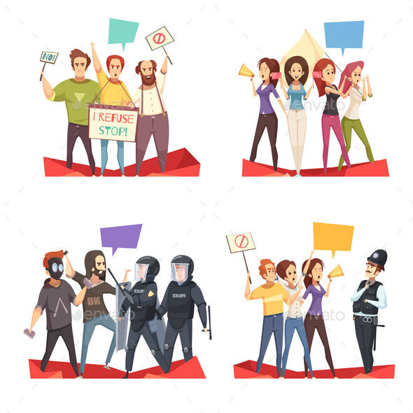 GraphicRiver Protesting Crowd 2x2 Design Concept 21123078