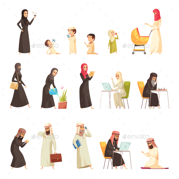 GraphicRiver Arabs Family Cartoon Icons Set 21123080