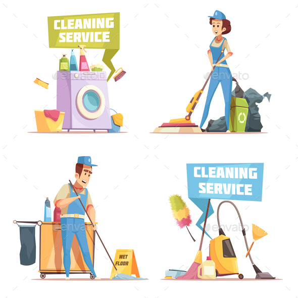 GraphicRiver Cleaning Service 2x2 Design Concept 21123081