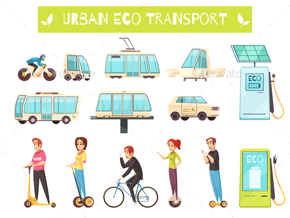 GraphicRiver Eco Transport Set 21123084