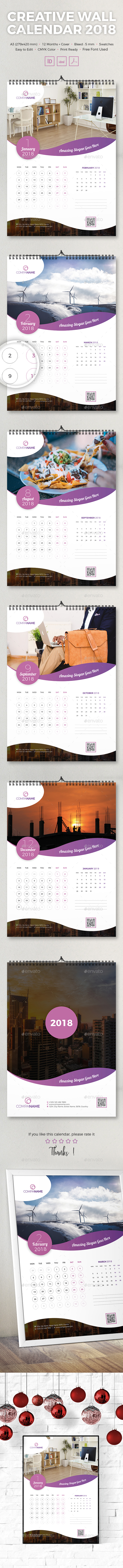 GraphicRiver Creative Wall Calendar 2018 21123159