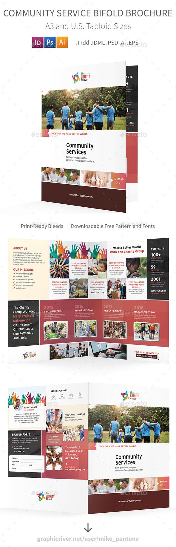 Community Service Bifold / Halffold Brochure 2 - Informational Brochures