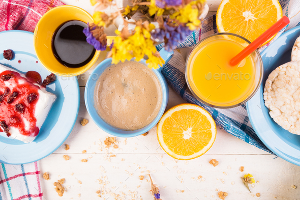 Healthy Breakfast. Various Assortment Set. Orange Juice, Granola, Coffee and Fruit. - Stock Photo - Images