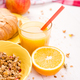 Healthy Breakfast. Various Assortment Set. Orange Juice, Granola, Croissant, and Fruit. - PhotoDune Item for Sale
