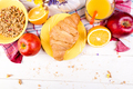 Healthy Breakfast. Various Assortment Set. Orange Juice, Granola, Croissant, and Fruit. - PhotoDune Item for Sale
