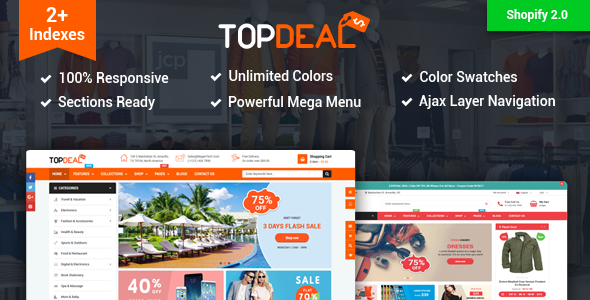 ThemeForest TopDeal Multipurpose Shopify Theme with Sectioned Drag & Drop Builder 21123497