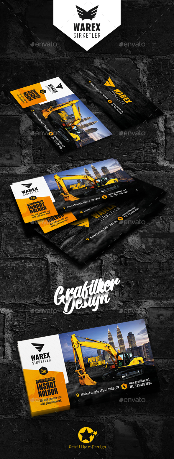 Construction business card templates by grafilker graphicriver construction business card templates corporate business cards wajeb Gallery