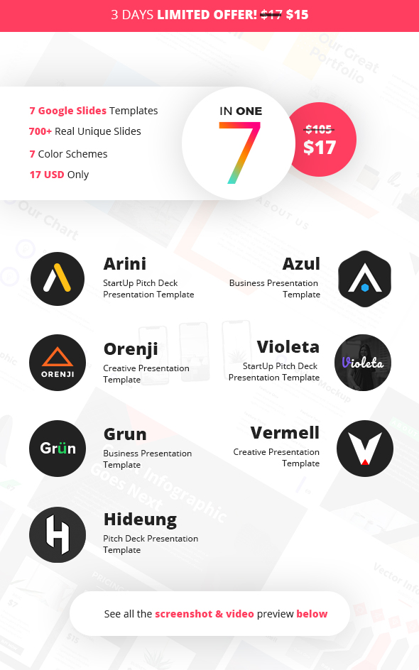 GraphicRiver The 7 Colors Pack Google Slides Templates 21119565
