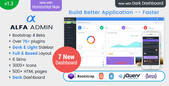 Image of Alfa - Responsive Bootstrap 4 Admin Dashboard Template, UI and WebApp Template